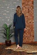 pijamacity Kadın Lacivert Düğme Detaylı Nakışlı Pijama Takım