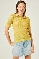 Join Us Kadın Sarı Ajurlu Polo Yaka Simli Kısa Kol Triko Bluz