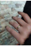 Erer Gümüş Kararmaz Gümüş 4 mm Altın Kaplama Alyans Yüzük
