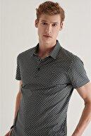 Avva Erkek Siyah Polo Yaka Baskılı T-shirt A11y1125