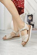 Diego Carlotti Hakiki Deri Bej Kadın Günlük Sandalet