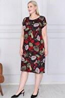 ASOTREND Kadın Büyük Beden Siyah Üzerine Kırmızı Yeşil Yaprak ve Çiçek Desenli Kısa Kollu Elbise
