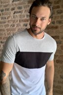TRENDYOL MAN Beyaz Erkek Panelli Slim Fit T-Shirt TMNSS20TS0430