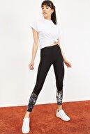 Bianco Lucci Kadın Çapraz Transparan Altı Digital Baskı Spor Tayt Siyah 10051052