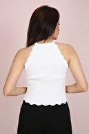 ChiChero Kadın Beyaz Halter Yaka Fırfırlı Yazlık Triko Bluz