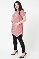 LİKRA Kadın Kırmızı Büyük Beden Çizgili Asimetrik Cepli Dantel Detay Lı Viskon Bluz