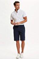 Defacto Erkek Beyaz Slim Fit Desenli Kısa Kollu Gömlek N7509AZ20SM