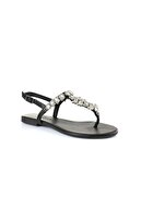 Oblavion Lavin Hakiki Deri Siyah Taşlı Sandalet