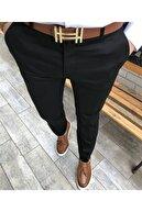TerziAdemAltun Italyan Kesim Fit Mevsimlik Erkek Siyah Kumaş Pantolon T3604
