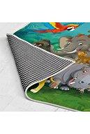 Estela Hayvanlar Alemi Desenli Kaymaz Tabanlı Çocuk Odası Halısı