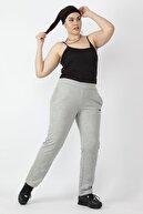 Şans Kadın Gri Tek Yanı Şeritli Bel Kısmı Lastikli Cepli Spor Pantolon 65N16432