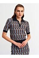 Dilvin Kadın Renkli  Polo Yaka Jakar Desen Kazak 2883