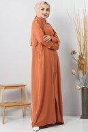 Tesettür Dünyası Büyük Beden Kolları Düğmeli Ayrobin Elbise Tsd8889 Kiremit