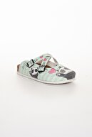 meyra'nın ayakkabıları Yeşil Panda Baskılı Terlik