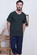 GAZZAZ Pamuklu Erkek Büyük Beden Kısa Kol Kaprili Pijama Takım