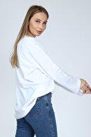 BASICA Kadın Beyaz Uzun Kollu Bisiklet Yaka Basic Oversize Sweatshirt
