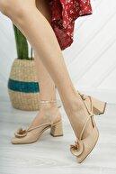 Moda Değirmeni Kadın Gül Fiyonklu Topuklu Ayakkabı Md1042-119-0004