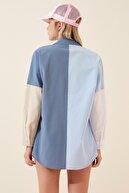 Happiness İst. Kadın Mavi Blok Renkli Oversize Poplin Gömlek DD00857