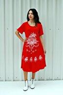 MGS LİFE Kadın Nar Çiçeği Kısa Kollu Çiçek Baskılı Çan Etek Elbise