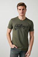 Buratti Erkek HAKİ Ön Beden Baskılı Bisiklet Yaka Pamuklu T Shirt 5721007