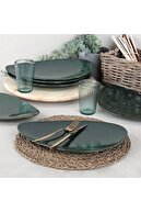 Keramika 35 Cm 6 Adet Servis/sunum Tabağı Zümrüt Yeşili