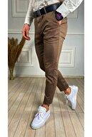 ukdwear Erkek Kahverengi İtalyan Kesim Petek Desen Keten Pantolon