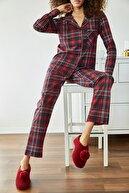 Xena Kadın Bordo Kareli Örme Pijama Takımı 1KZK8-11024-73