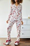 Xena Kadın Beyaz Kedi Baskılı Örme Pijama Takımı 1KZK8-11024-08
