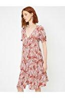 Koton Kadın Desenli Keten Elbise