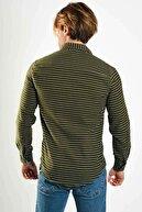 Karpefingo Erkek Baskılı Likralı Haki Gömlek - 46831