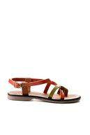 Bambi Hakiki Deri Taba Çok Renkli Kadın Sandalet K05685162203
