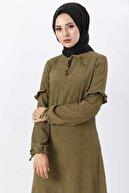 Tesettür Dünyası Eteği Volanlı Kadife Elbise Tsd6124 Haki