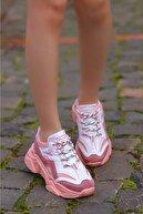 Madam Tarz Kadın Pudra Beyaz Bağcıklı Dolgu Taban Ayakkabı