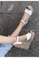 Espardile Kadın Beyaz Cilt Dolgu Topuk Sandalet