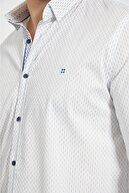 Avva Erkek Lacivert Baskılı Alttan Britli Yaka Slim Fit Garnili Gömlek
