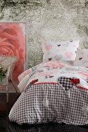 LadyModa %100 Pamuk Çarşafı Lastikli Çift Kişilik Nevresim Takımı Love