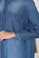 ALLDAY Mavi Cepli Çıtçıtlı Pamuklu Denim Gömlek Tunik