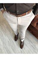 TerziAdemAltun Italyan Kesim Slim Fit Mevsimlik Bej Kumaş Pantolon T3480