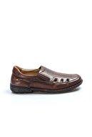 Fast Step Hakiki Deri Ortopedik Taba Erkek Klasik Sandalet 662ma118kt