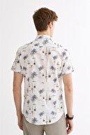 Avva Erkek Ekru Baskılı Düğmeli Yaka Slim Fit Kısa Kol Gömlek A01y2115