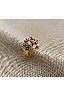 Markiz Takı Renkli Taşlı Düğüm Kıkırdak Küpe