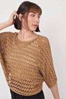 Addax Kadın Camel Delikli Yarasa Kol Triko Bluz K10103 - C7 ADX-0000019726