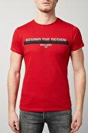 Buratti Erkek Kırmızı Ön Beden Baskılı Bisiklet Yaka Pamuklu Slim Fit T Shirt 54126 S0