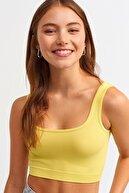 Dilvin Kadın Canlı Sarı 3540 Askılı Crop Top 101a03540