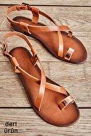 Bambi Hakiki Deri Taba Rose Kadın Sandalet K05685162103