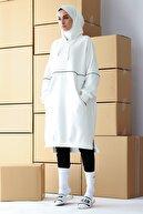 mintahayse Kadın Beyaz Kapüşonlu Üç Iplik Şardonsuz Biyeli Sweatshirt