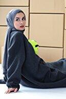 mintahayse Kadın Antrasit Yarım Boğazlı Şardonlu Kemer Detaylı  Sweatshirt