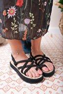 USLUDAN Mocco Siyah Kalın Tabanlı Çapraz Halat Sandalet Us74630