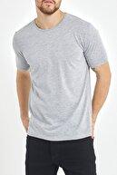 XHAN Gri Basic Bisiklet Yaka T-shirt 1kxe1-44489-03