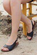 Deripabuc Hakiki Deri Siyah Kadın Deri Sandalet Dp-0076
